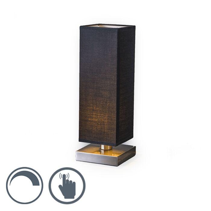 Lampe-de-table-Tower-Touch-acier-noir
