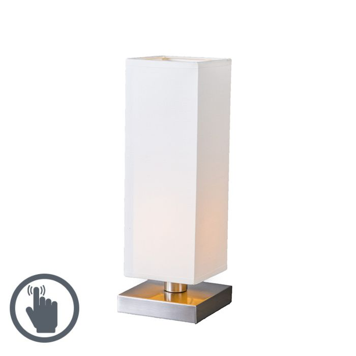 Lampe-de-table-Tower-Touch-acier-blanc