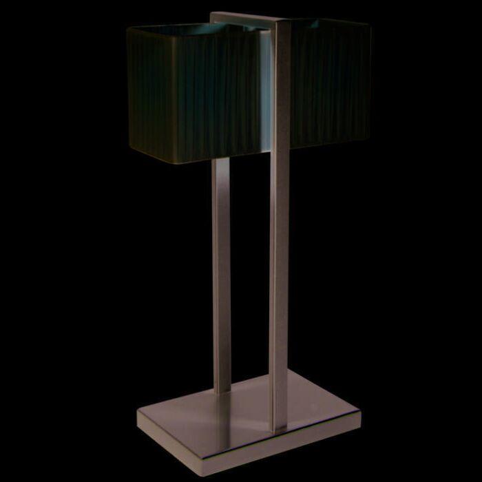 Lampe-de-table-Lars-gris-argenté-abat-jour-plissé-crème
