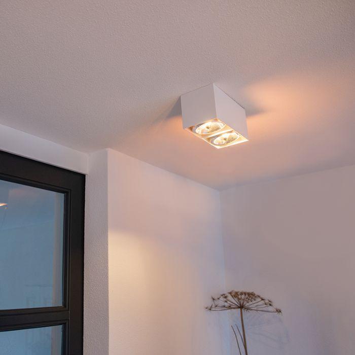 Spot-design-rectangulaire-2-lumières-blanc---Box