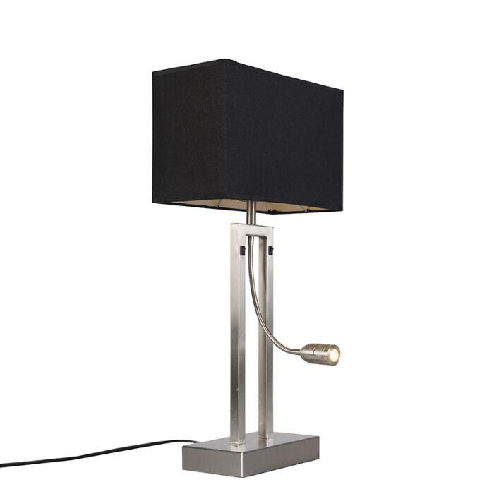 Lampe-de-table-Bergamo-acier-avec-abat-jour-noir