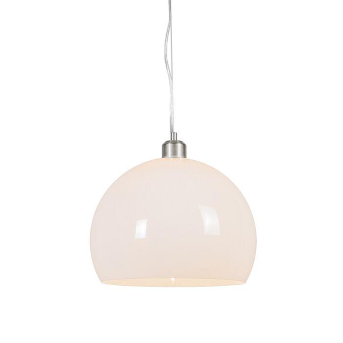 Suspension-moderne-ronde-opale-blanche---Globe