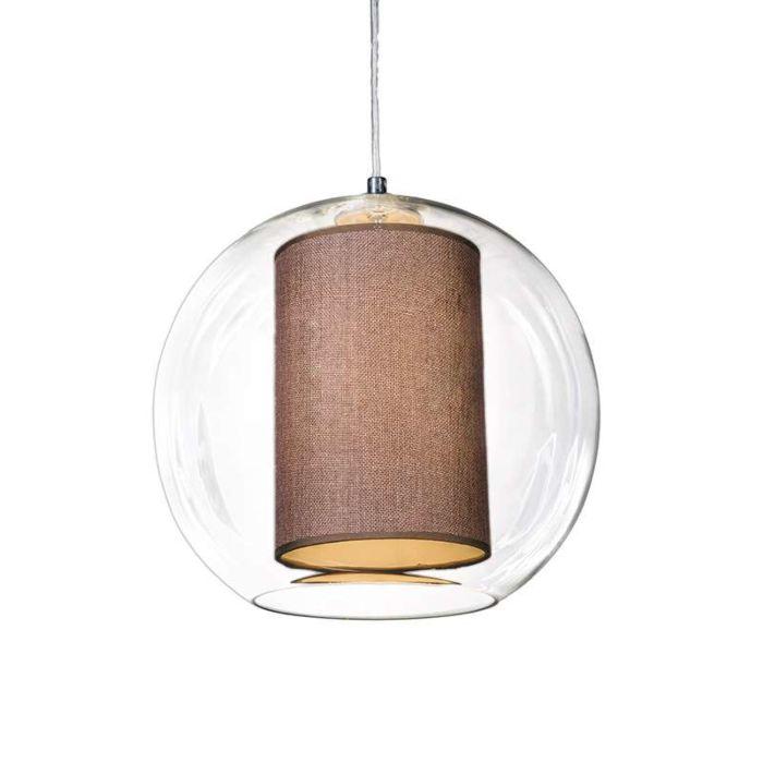 Suspension-Globe-30-avec-voilure-marron