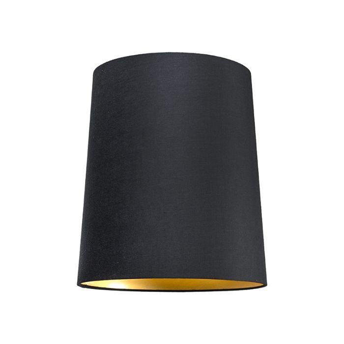 Abat-jour35cm-rond-SU-E27-noir-doré