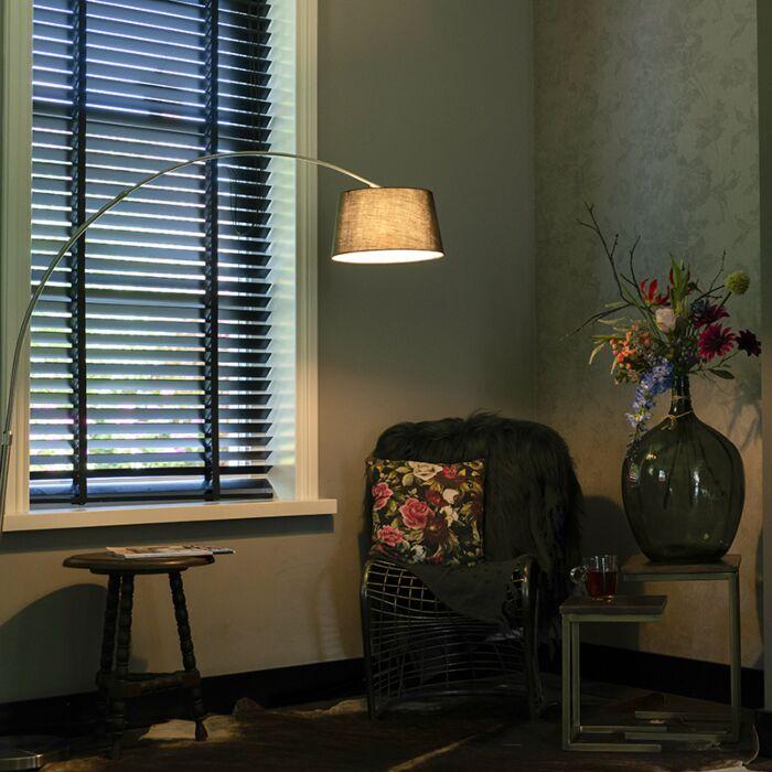 Lampe-à-arc-en-acier-moderne-avec-abat-jour-en-tissu-noir---Arc-Basic