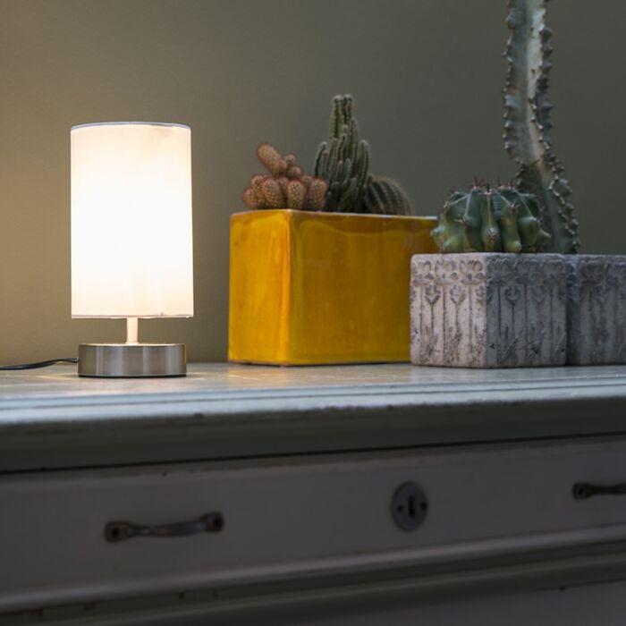 Lampe-de-table-moderne-blanche-ronde-12-cm-dimmable---Milo-2