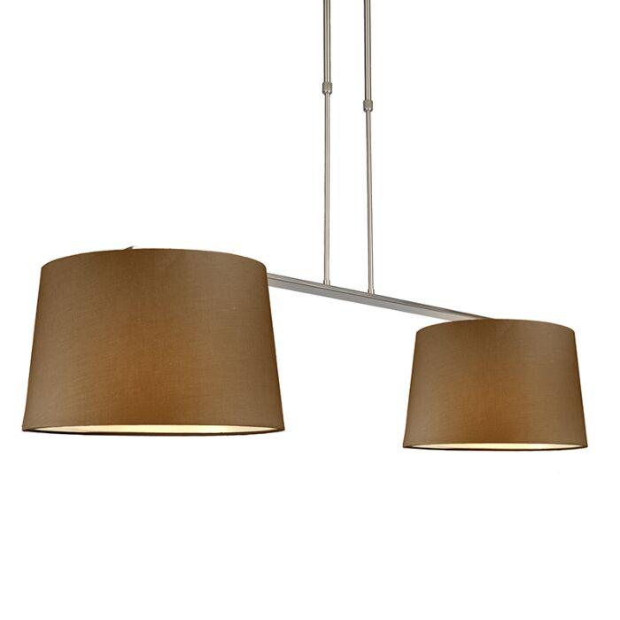 Suspension-Combi-Delux-2-abat-jours-ronds-40cm-brun