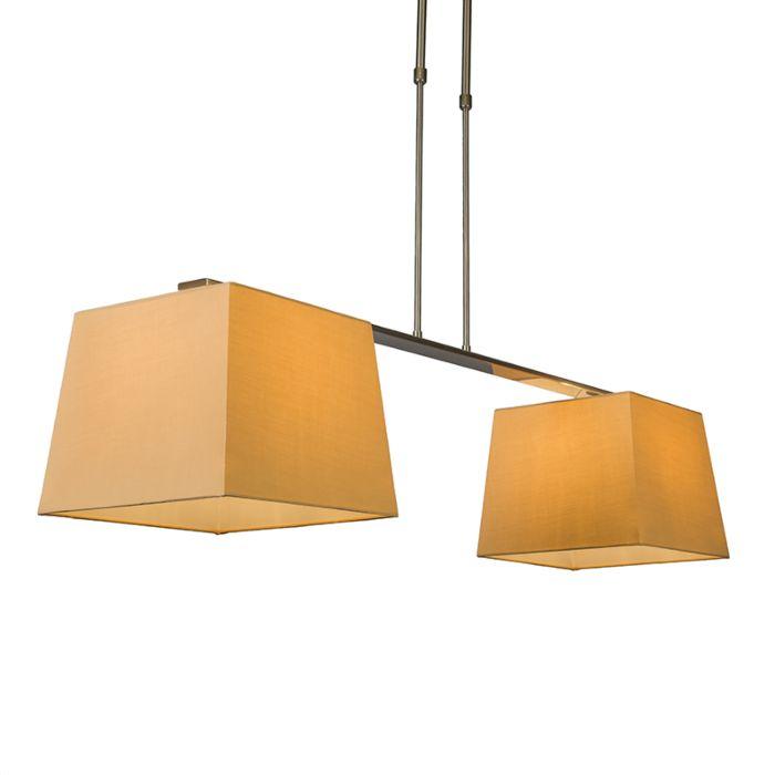 Suspension-Combi-Delux-2-abat-jours-carrés-30cm-beige