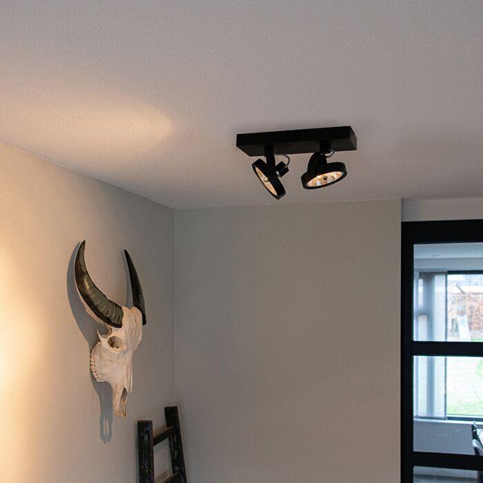 Projecteur-design-noir-réglable-à-2-lumières-avec-LED---Go
