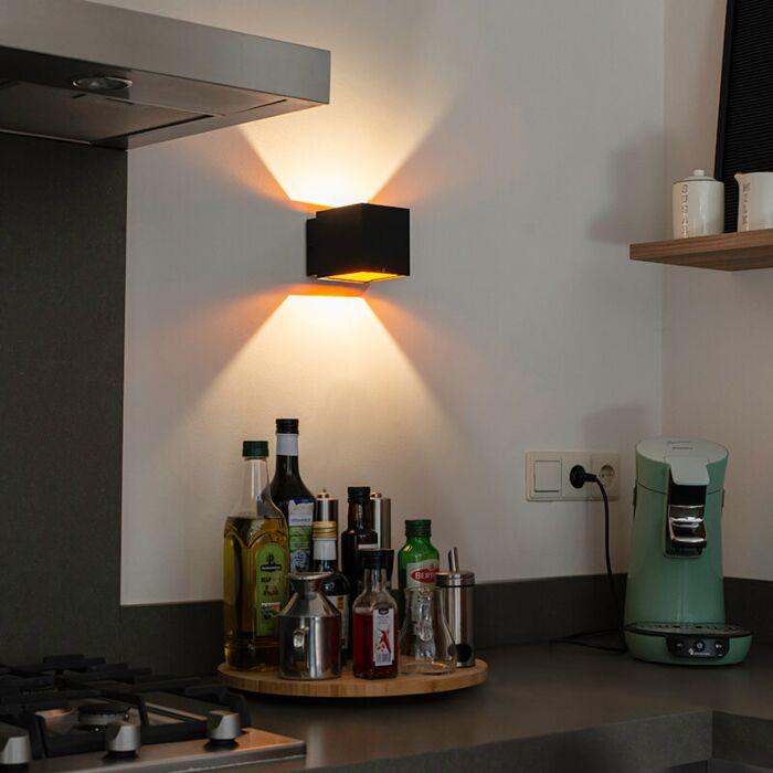 Applique-design-noir-/-or-avec-LED---Caja