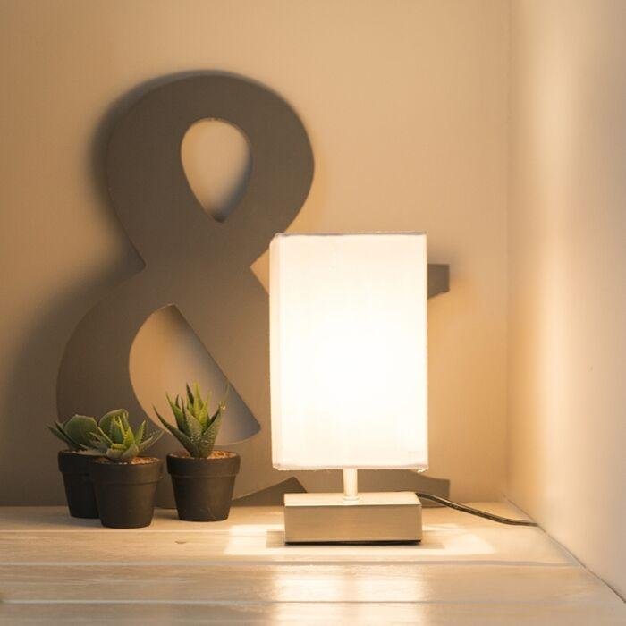 Lampe-de-table-moderne-blanc-avec-acier---Milo