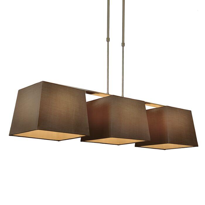 Suspension-Combi-Delux-3-abat-jours-carrés-30cm-brun