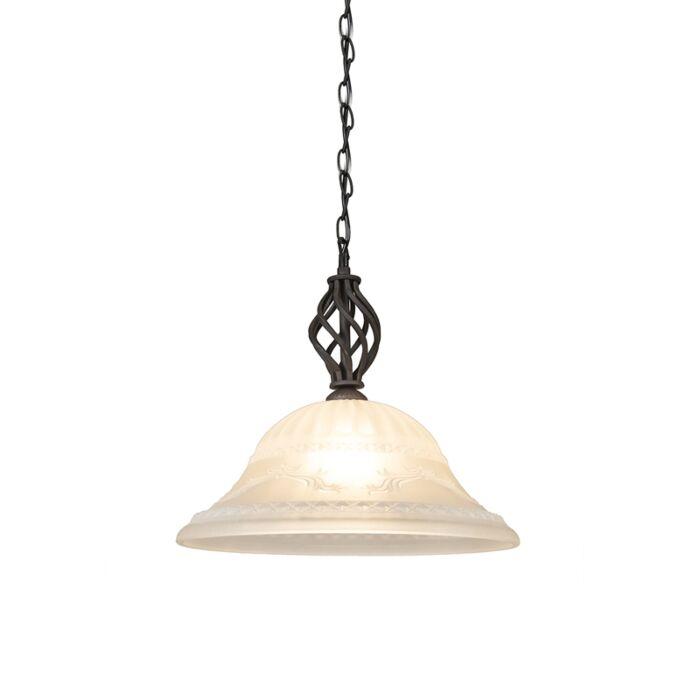 Lampe-suspendue-rurale-brun-rouille-avec-verre---Élégant-1