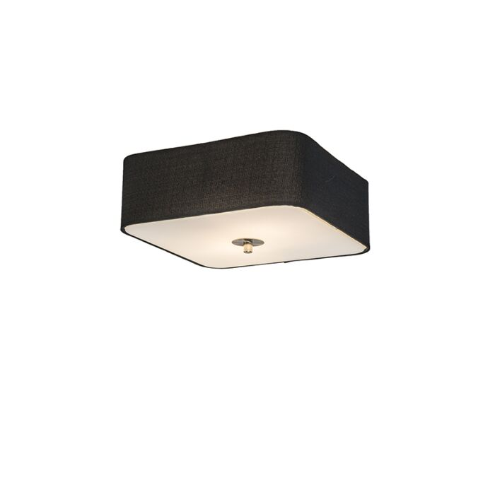 Plafonnier-carré-noir-30-cm---Tambour-deluxe-Jute