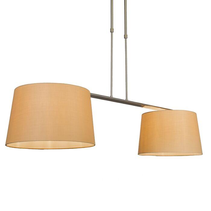 Suspension-Combi-Delux-2-abat-jours-ronds-40cm-beige