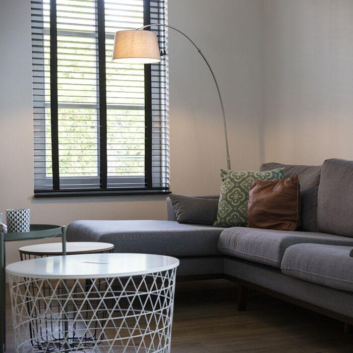 Lampe-à-arc-moderne-en-acier-avec-abat-jour-en-tissu-blanc---Arc-Basic