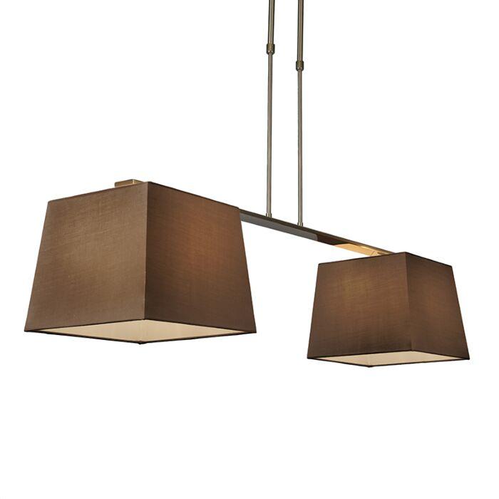 Suspension-Combi-Delux-2-abat-jours-carrés-30cm-brun