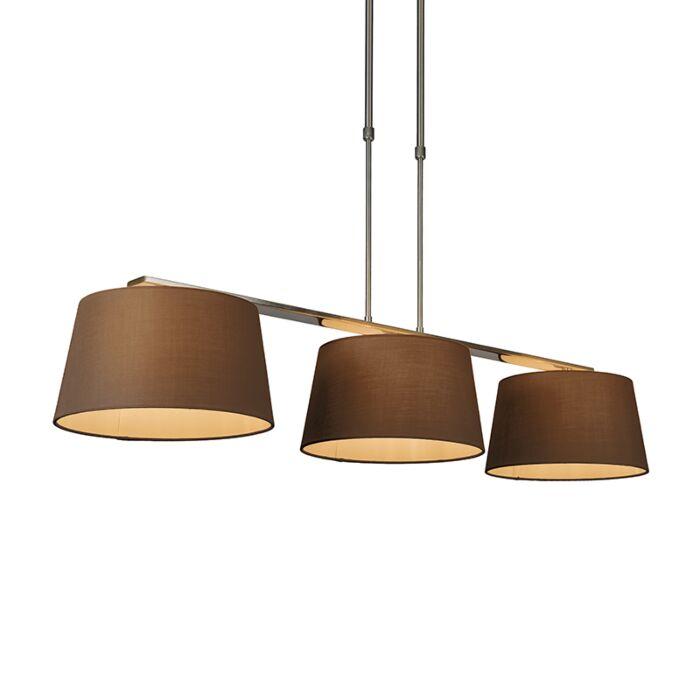 Suspension-Combi-Delux-3-abat-jours-ronds-30cm-brun