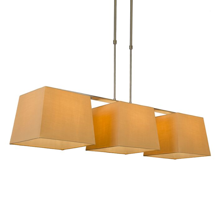 Suspension-Combi-Delux-3-abat-jours-carrés-30cm-beige