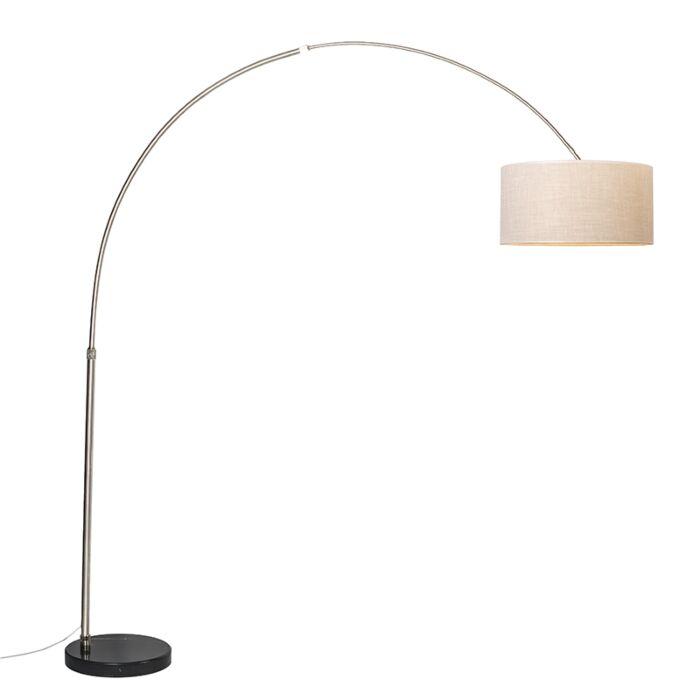 Lampe-Arc-XXL-abat-jour-acier-50cm-droit-crème