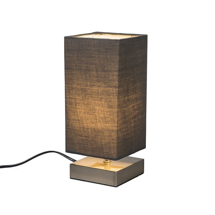 Lampe-de-table-moderne-gris-avec-acier---Milo