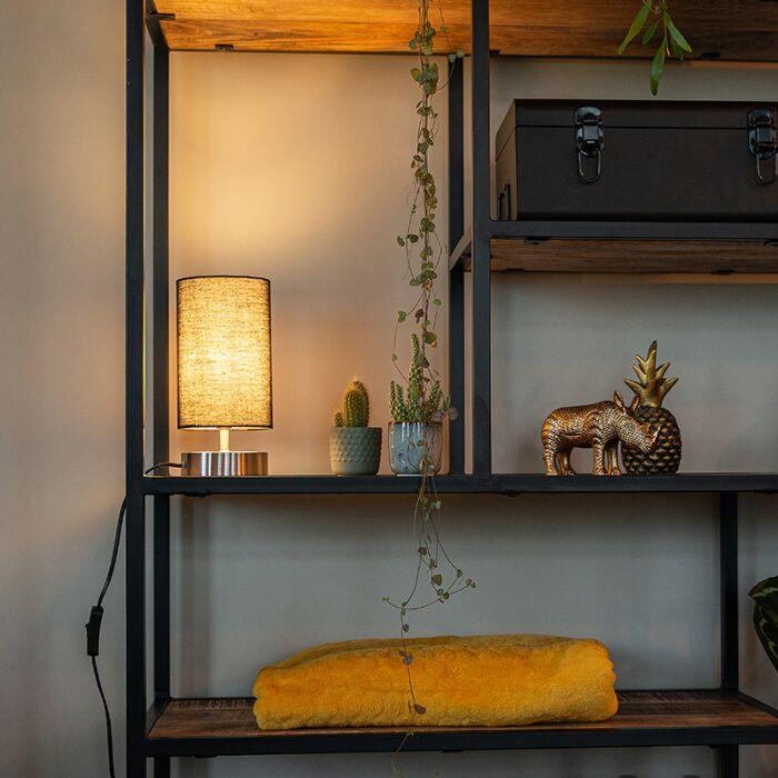 Lampe-de-table-moderne-noire-avec-acier---Milo-2