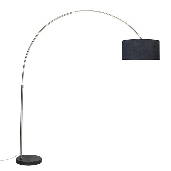 Lampe-à-arc-acier-noir-abat-jour-50-cm---XXL