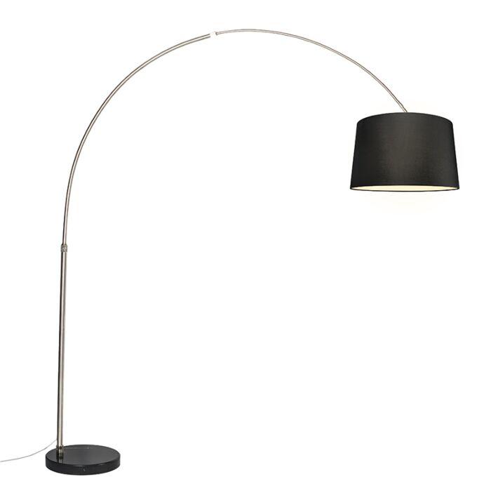 Arc-lampe-abat-jour-tissu-acier-noir-45-cm---XXL