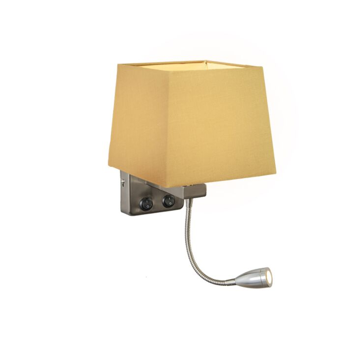 Applique-Brescia-acier-avec-abat-jour-carré-beige