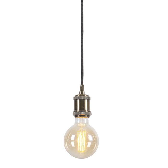 Lampe-à-suspension-moderne-en-bronze-avec-câble-noir---Cava-Classic