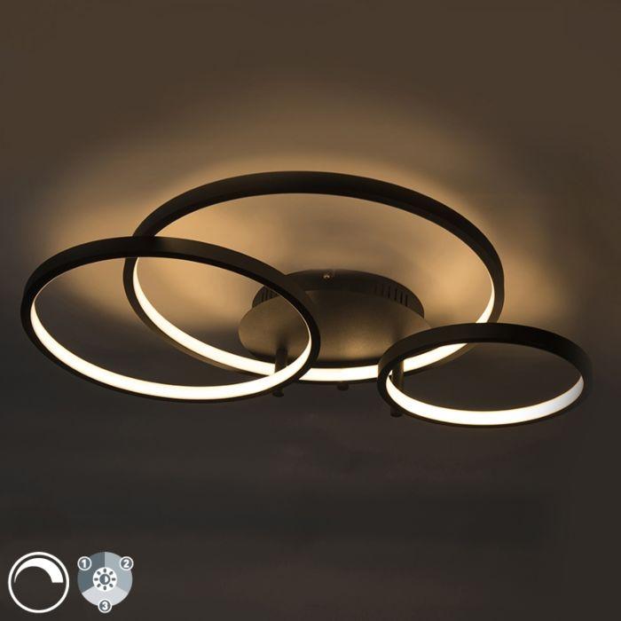 Plafonnier-moderne-noir-avec-LED-et-variateur-Rondas