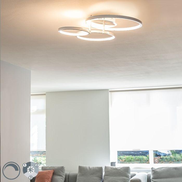 Plafonnier-moderne-blanc-avec-LED-et-dimmer-Rondas