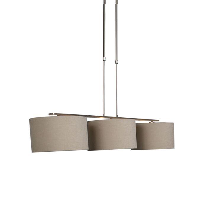 Lampe-à-suspension-moderne-en-acier-avec-abat-jour-beige---Combi-3-Deluxe