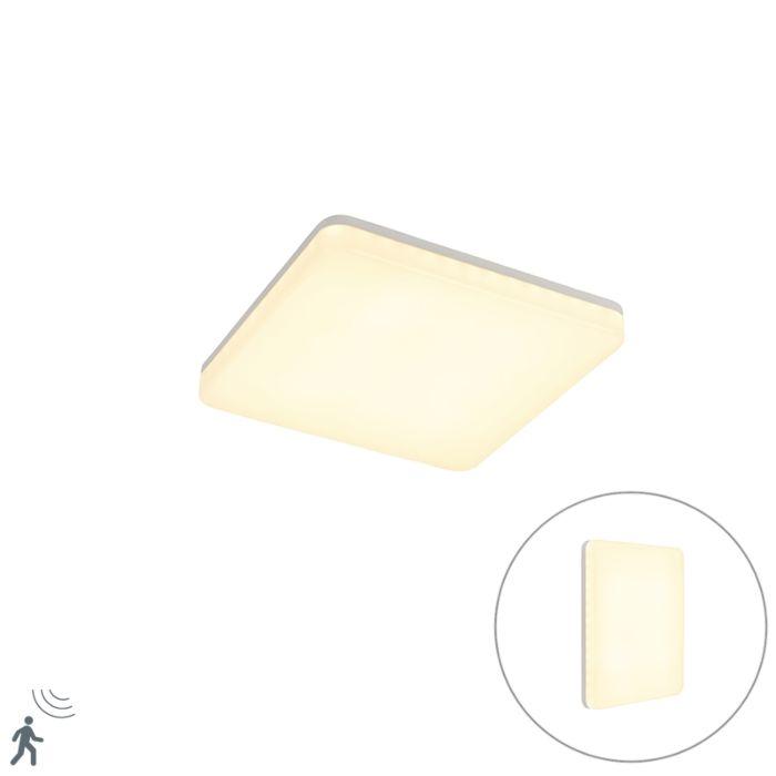 Plafonnier-carré-blanc-avec-LED-et-détecteur-de-mouvement---Plater