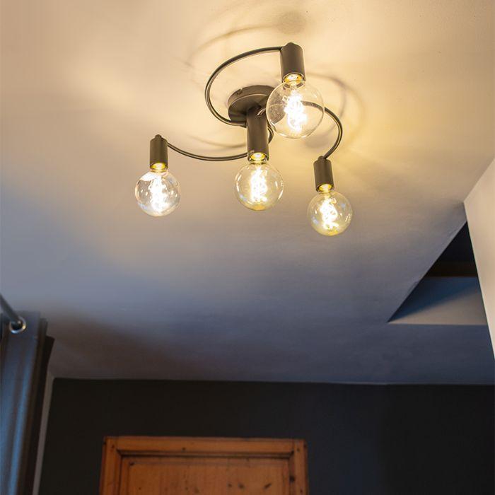 Art-deco-plafondlamp-zwart-4-lichts---Facil