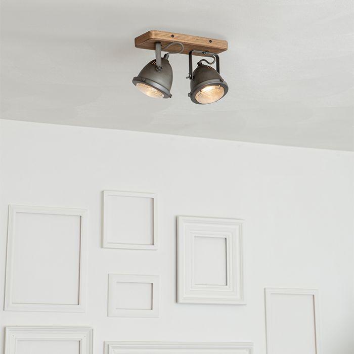 Spot-industriel-en-acier-avec-bois-à-2-lumières-inclinable---Emado