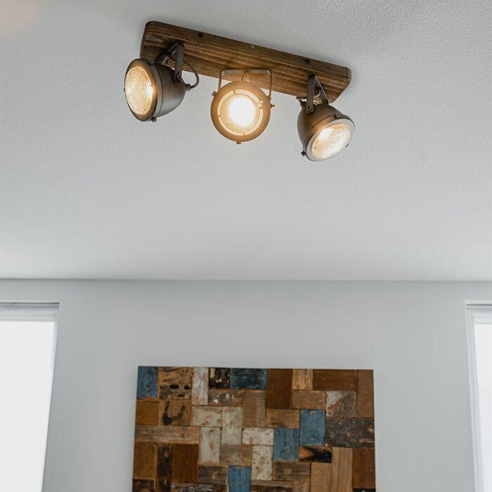 Spot-industriel-en-acier-avec-bois-à-3-lumières-inclinable---Emado