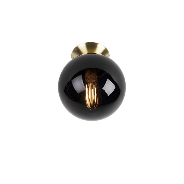 Plafonnier-Art-Déco-en-laiton-avec-verre-noir---Pallon
