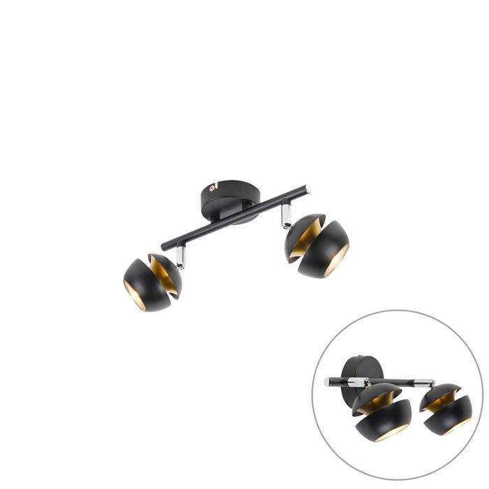 Spot-moderne-à-2-ampoules,-noir-avec-intérieur-doré---Buell-Deluxe