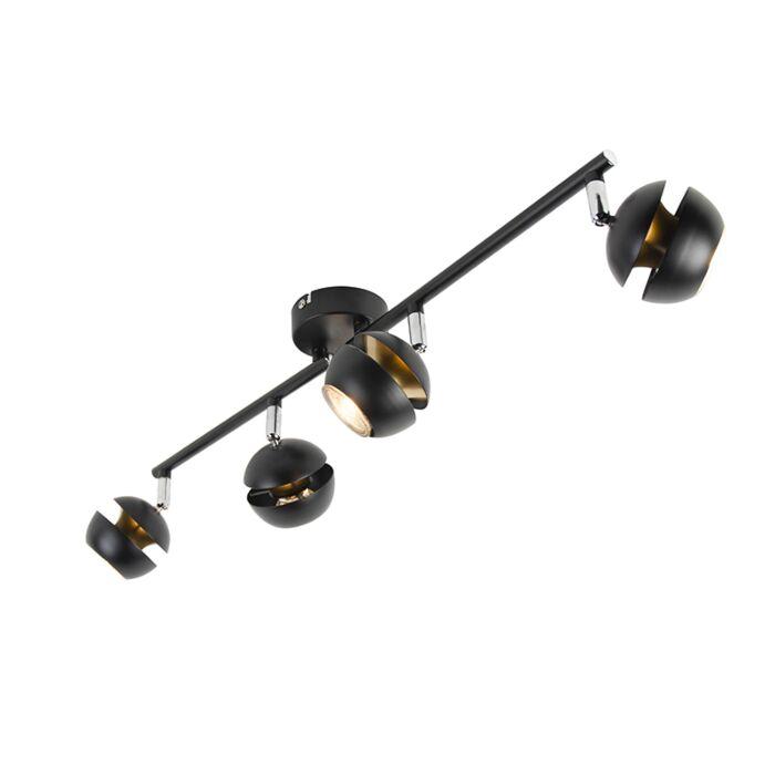 Plafonnier-moderne-noir-avec-intérieur-doré-à-4-Spots---Buell-Deluxe