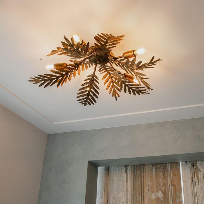Plafonnier-vintage-5-lumières-en-or---Botanica