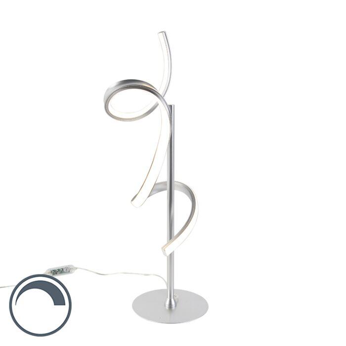 Lampe-de-table-design-argent-avec-LED-et-dimmer---Krisscross