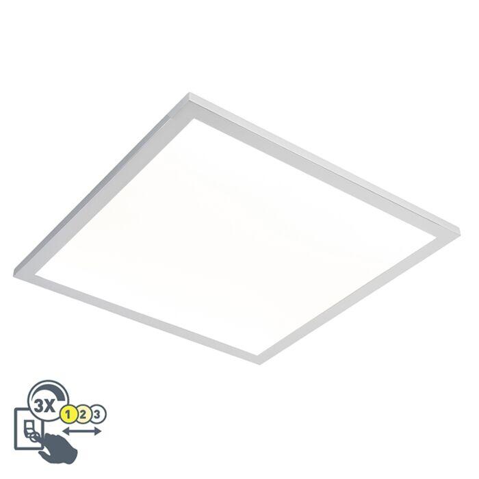 Plafonnier-carré-chromé-45-cm-avec-LED-IP44---Plat