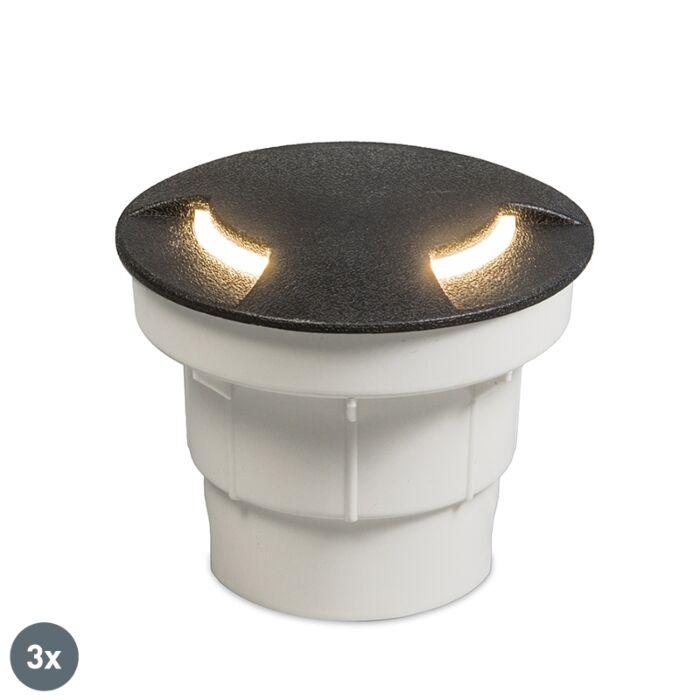 Lot-de-3-spots-de-sol-extérieur-noir-avec-LED-IP67---Ceci-2