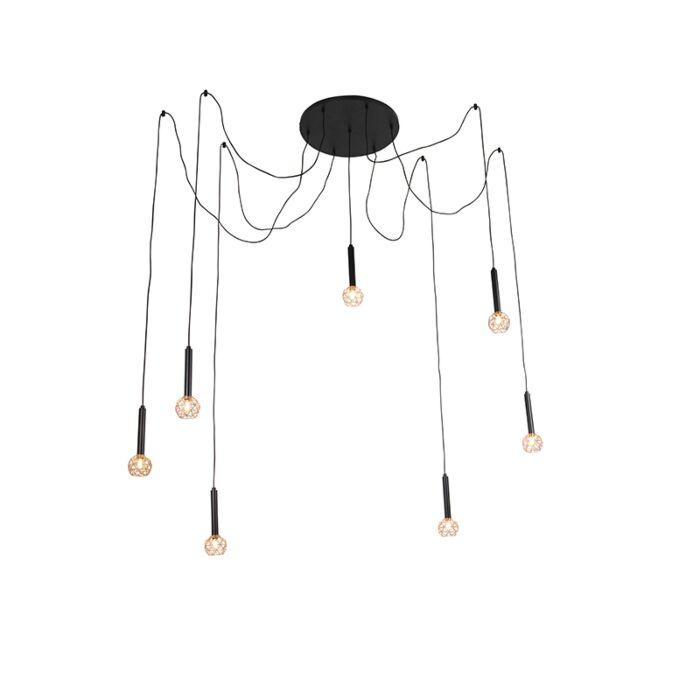 Lampe-suspendue-noire-à-7-lumières-en-cuivre---Mesh
