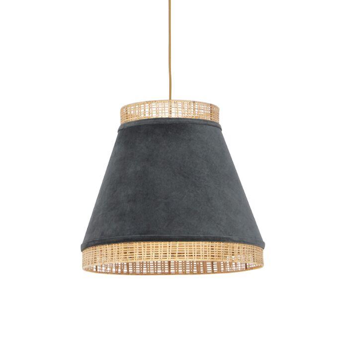Lampe-suspendue-rurale-en-velours-gris-avec-canne-45-cm---Frills-Can