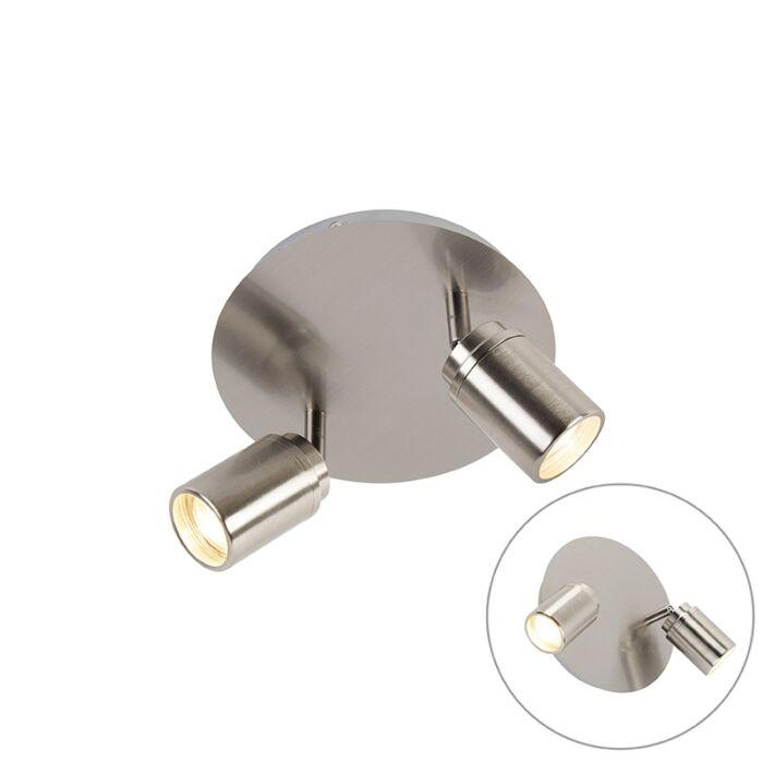 Spot-de-salle-de-bain-moderne-en-acier-2-lumières-IP44---Ducha