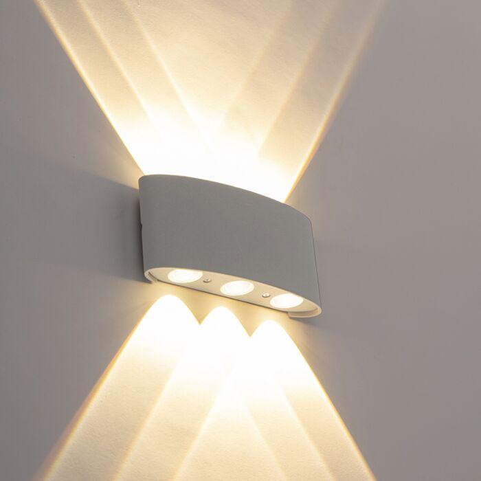 Applique-murale-exterieure-design-argentée-avec-LED-6-lumières---Silly