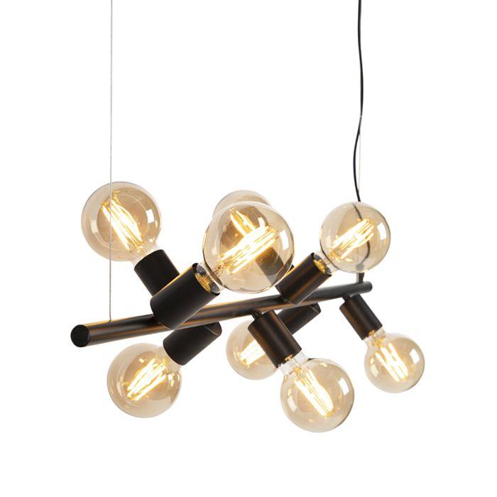 Lampe-à-suspension-scandinave-noire-8-lumières---Facil-Tube
