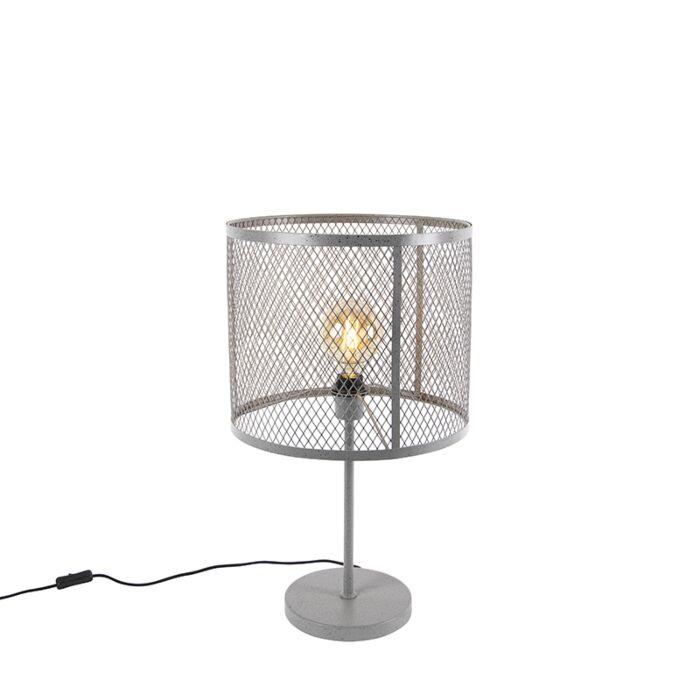 Lampe-de-table-ronde-industrielle-argent-antique---Cage-Robusto